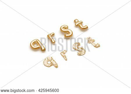 Inflated, Deflated Gold Q R S T Letters, Balloon Font, 3d Rendering. Festive Golden Typeface For Ann