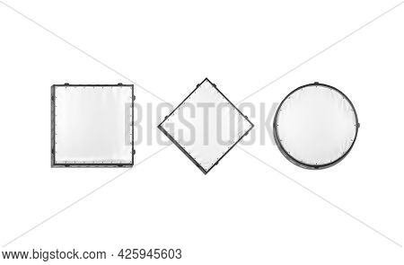 Blank White Square, Rhombus And Round Stretching Banner Mockup, Isolated, 3d Rendering. Empty Grip S