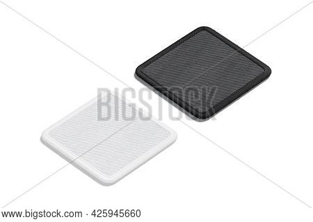 Blank Black And White Square Embroidered Patch Mockup, Side View, 3d Rendering. Empty Stitches Fabri