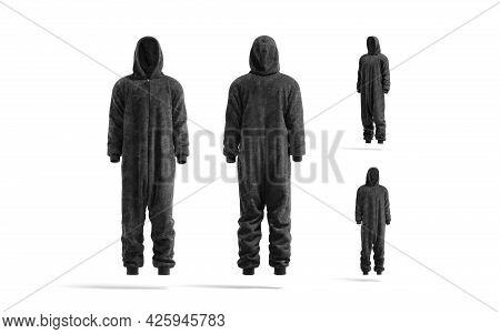 Blank Black Plush Jumpsuit With Hood Mockup, Different Views, 3d Rendering. Empty Fleece Nightwear F