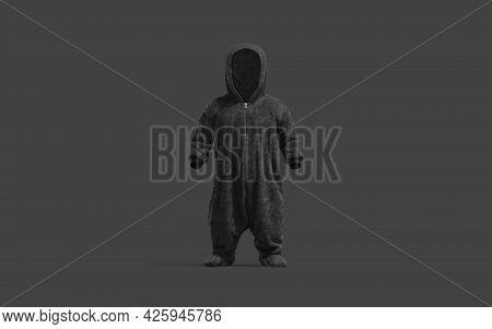 Blank Black Kid Plush Jumpsuit With Hood Mockup, Dark Background, 3d Rendering. Empty Child Wear For