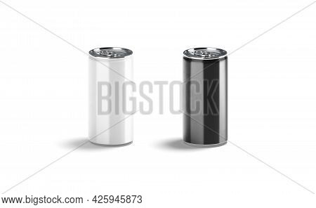 Blank Black And White Aluminum Narrow 280 Ml Soda Can Mockup, 3d Rendering. Empty Cold Refreshment B