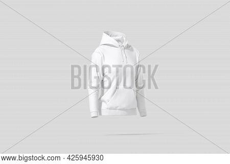 Blank White Women Sport Hoodie Mockup, Gray Background, 3d Rendering. Empty Female Tolstovka Or Swea
