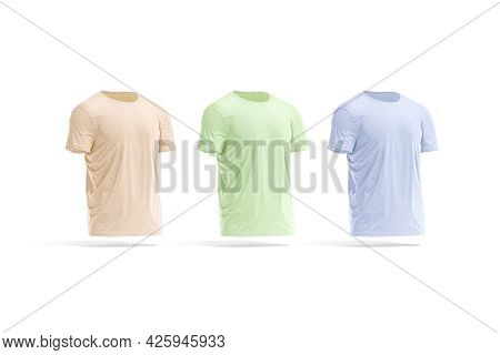 Blank Colored Wrinkled T-shirt Mockup, Side View, 3d Rendering. Empty Pink, Blue And Green Cotton Te