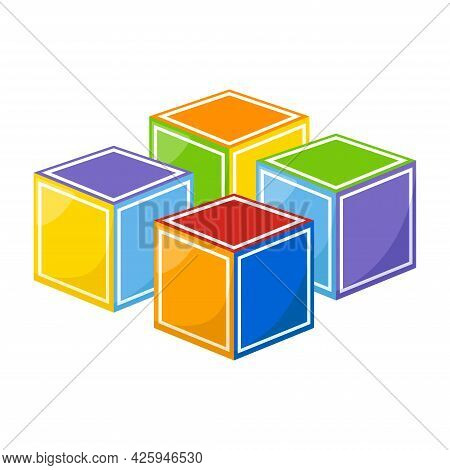 Colorful Kid Cubes On White Background, Vector Illustration