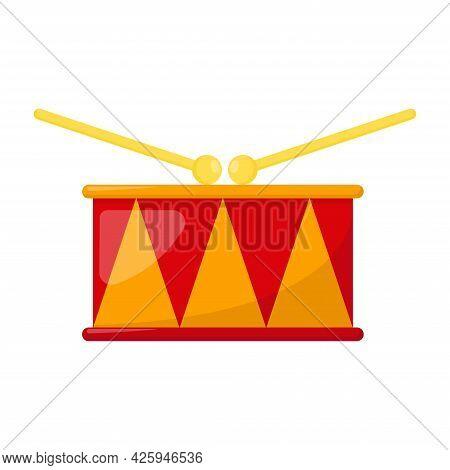 Kid Toy Drum On White Background, Vector Illustration