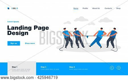 Two Office Teams Of People Pulling Rope Isolated Flat Vector Illustration. Cartoon Strong Characters