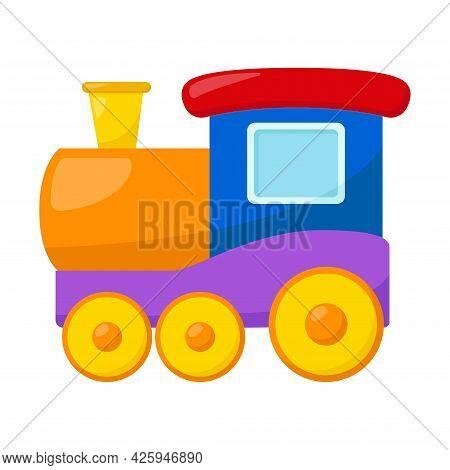 Kid Toy Train On White Background, Vector Illustration