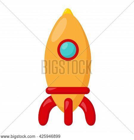Kid Toy Rocket On White Background, Vector Illustration