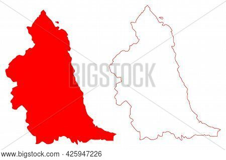 North East England Region (united Kingdom, Region Of England) Map Vector Illustration, Scribble Sket