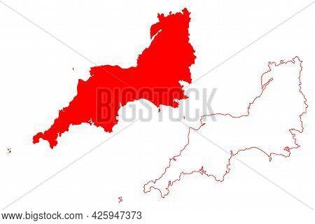 South West England Region (united Kingdom, Region Of England) Map Vector Illustration, Scribble Sket