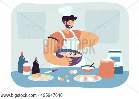 Happy Man Preparing Pastries Flat Vector Illustration. Cook In Apron And Cap Mixing Flour And Eggs,