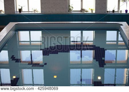 Swimming Pool With Large Windows.for Swimming And Sports