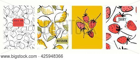 Cover Page Vector Templates With Hand Drawn Lemons And Strawberries. Headers Isolated And Replaceabl