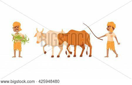 Indian Farmer Wearing Turban Cultivating Plants And Soil Vector Set