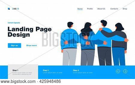 Back View Of Team Members Standing Together Flat Vector Illustration. Cartoon Crowd Of People Embrac