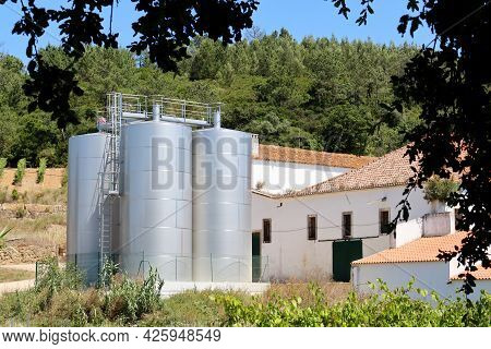 Large Steel Tanks In The Winery. Wineries Of Portugal