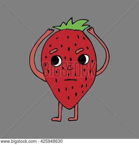 Cute And Funny Comic Style Garden Strawberry Character Looking Up, Cartoon Vector Illustration Isola