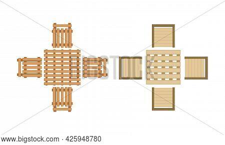 Landscape And Garden Design Elements With Pavilion Above View Vector Set