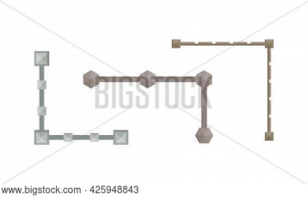 Landscape And Garden Design Elements With Fence Above View Vector Set