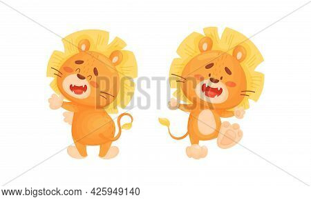 Cartoon Lion Cub Playful Character With Thick Mane Standing And Dancing Vector Set