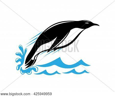 Illustration With Icon Of Penguin Jumping Out Of Water On White Background.