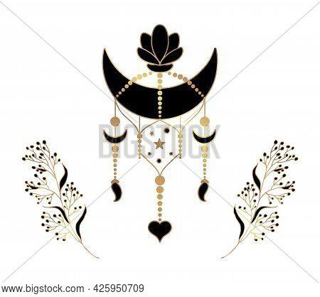 Esoterics. Golden Line Art Of Esoteric Composition. Moon, Stars And Sun Symbols. Mystical Pendant Wi