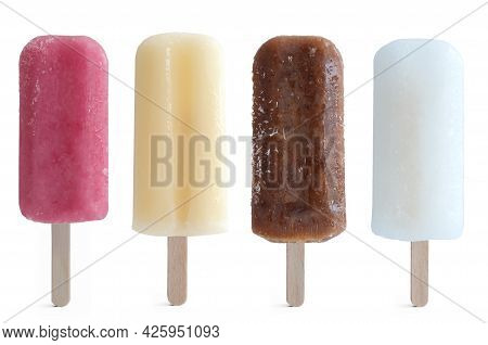 Four Assorted Ice Lollies Over A White Background, Including Raspberry, Cola, Apple And Lemon Flavou