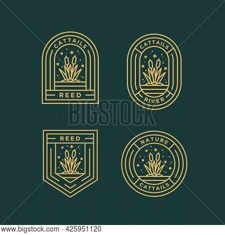 Set Of Cattails Nature Minimalist Line Art Badge Logo Icon Template Vector Illustration Design. Simp