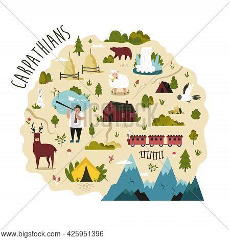 Bright Map Of Carpathians Region With Landscapes, Symbols, Animals.