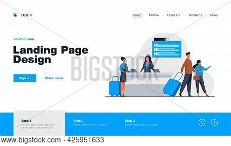 Happy Travelers Going Through Flight Registration Counter. Trip, Baggage, Luggage Flat Vector Illust