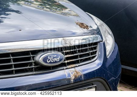 Ostrava, Czech Republic - May 29, 2021: The Ford Vehicle Dirty Because Of Pigeon Excrements