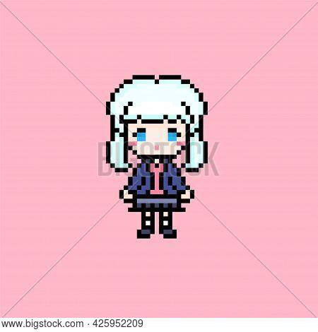 Pixel Schoolgirl Anime, Pupil Character On Pink Background
