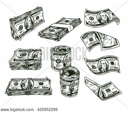 Money Vintage Monochrome Concept With Rolls And Stacks Of One Hundred Us Dollar Bills Isolated Vecto