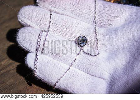 Silver Bracelet With Purple Stone Opalite Charm