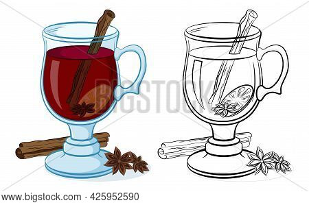 Glasses Goblet With Drink Grog, Cinnamon, Star Anise And Lemon, Color And Black Contour Pictograms O