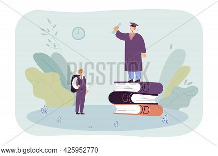Schoolboy Looking At Graduate Standing On Huge Books. Pupil Smiling At Student With Graduation Cap A
