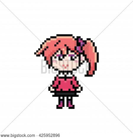 Pixel Cute Anime Girl Witn Bright Clothes, Ponytail With Bow