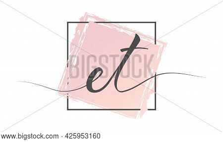 Calligraphic Lowercase Letters Et In A Single Line On A Colored Background In A Frame. Vector Illust