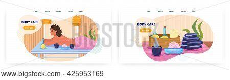 Body Care Landing Page Design, Website Banner Vector Template Set. Woman Enjoying Spa Salon Procedur