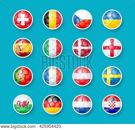 Icons Of The Countries Participants The Round Of 16 In The European Football Championship 2020. Sign