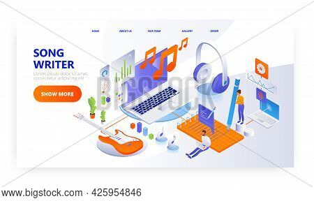 Song Writer, Landing Page Design, Website Banner Vector Template. Composers Or Lyricists Creating Ly