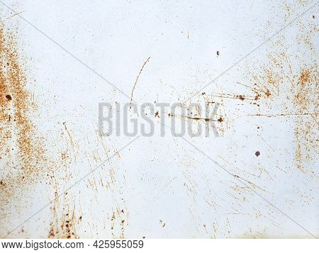 White Painted Metal Texture With With Rusty Scratches. Rusty Metal Background.