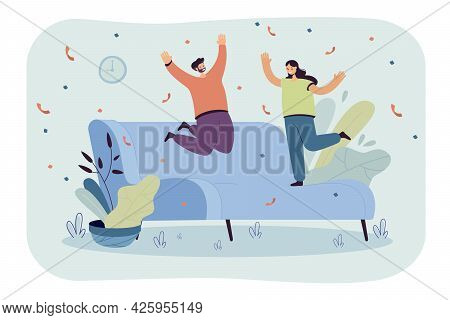 Happy Couple Jumping On Huge New Sofa. Husband And Wife On Couch, Confetti Flat Vector Illustration.