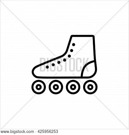 Icon Line Roller Skates In A Simple Style. Vector Sign In A Simple Style, Isolated On A White Backgr