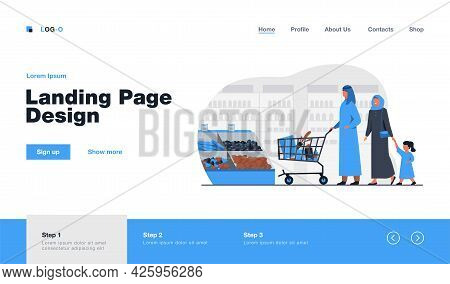 Muslim Family Buying Food In Supermarket. Arab Cartoon Characters Wheeling Shopping Cart In Grocery