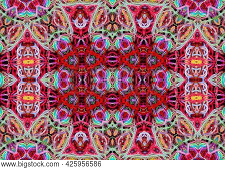 Abstract Concentric Pattern Of Bright Multicolored Threads With 3d Effect On A Black Background