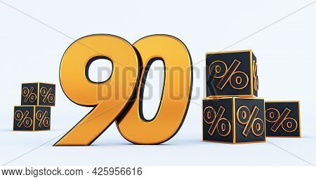 Gold Ninety 90 Percent Number With Black Cubes  Percentages Isolated On White Background. 3d Render