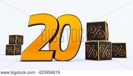 Gold Twenty 20 Percent Number With Black Cubes  Percentages Isolated On White Background. 3d Render