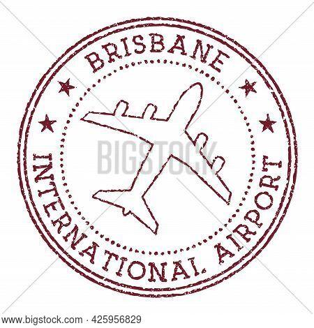Brisbane International Airport Stamp. Airport Of Brisbane Logo Vector Illustration.